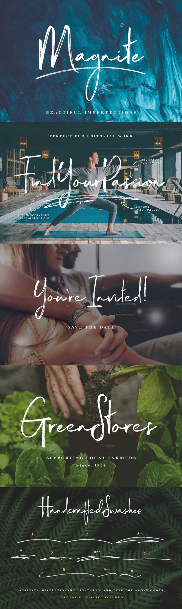 Magnite Brush Script - I'm happy to introduce you to Magnite - A handwritten brush font jam-packed with cha...