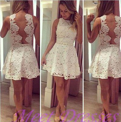 Pretty Princess High neckline Lace Short Prom Dress White Homecoming Dresses
