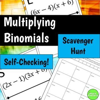 Multiplying Binomials (FOIL) Scavenger Hunt Activity | Algebra I ...