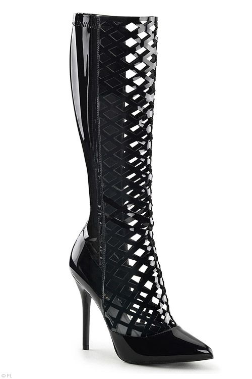 """Pleaser 5"""" Heel Lattice Cut-Out Boots with Hidden Platform  This style is shown in Australian sizes, which are the equivalent to US sizes. This particular style is a firm fit and therefore we recommend the next size up if you have a broader foot. Description Stunning Lattice Cut Patent Leather Boots for a high impact look. These fearless booties have a sleek high gloss finish with a convenient rear zip fastening for ease of wear."""