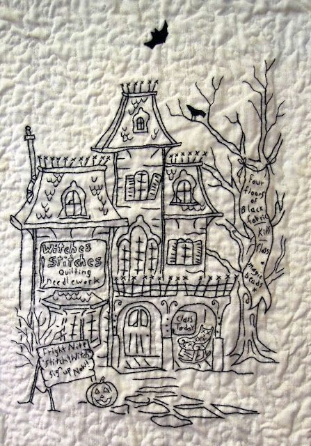 close up blackwork embroidery halloween quilt by phyllis day hocuspocusville pattern by crabapple - Halloween Hand Embroidery Patterns