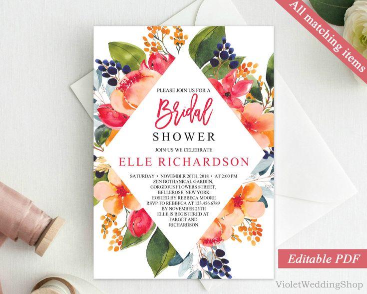 Coral and Red Floral Bridal Shower Invitation Template. Printable Bridal Shower Invitation. Flower Blush Orange Pink Invitation Download PDF http://etsy.me/2oHlrcc #papergoods #red #bridalshower #orange #bridal #shower #invitation #template #printable