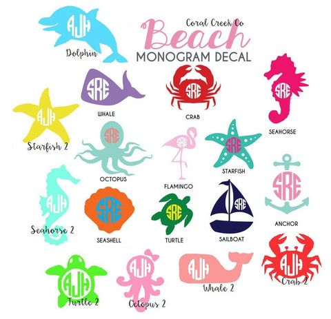 Beach Themed Monogram Vinyl Decals