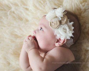 Fabric Flower Rosettes Headband Gray Light Pink White Over the