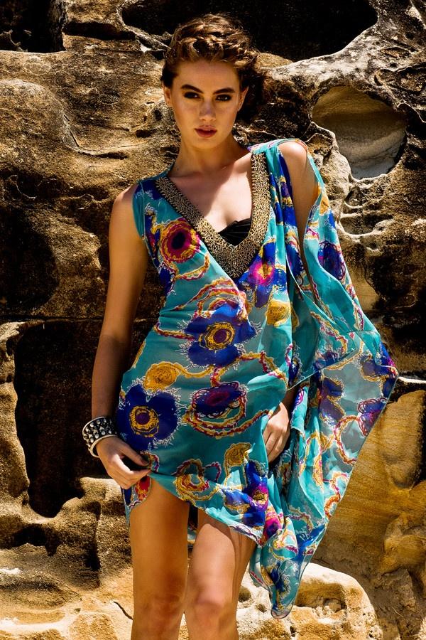 Dashiki blossom kaftan dress