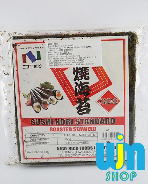 Merk: Nico Nori Isi: 50 lembar Berat Bersih: 135 gram Berat Kiriman: 200gram  1kg via JNE bisa muat 5-6 bungkus nori  Minat: SMS/WA: 08996752411 PIN BB: 57EE3E90 WEB: wjmshop.com