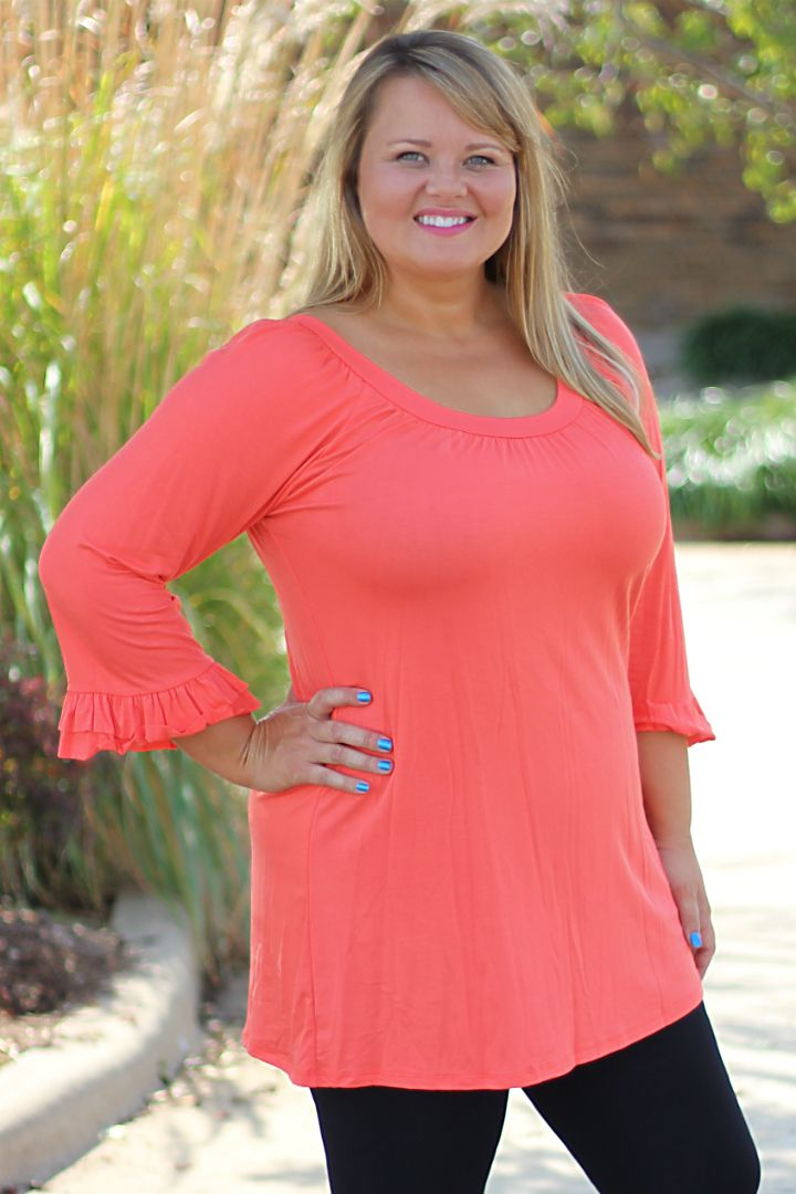 One Faith Boutique - Orange Scoop Neck Ruffle Sleeve Top- Sizes 12-18, $29.00 (http://www.onefaithboutique.com/new-arrivals/orange-scoop-neck-ruffle-sleeve-top-sizes-12-18/)