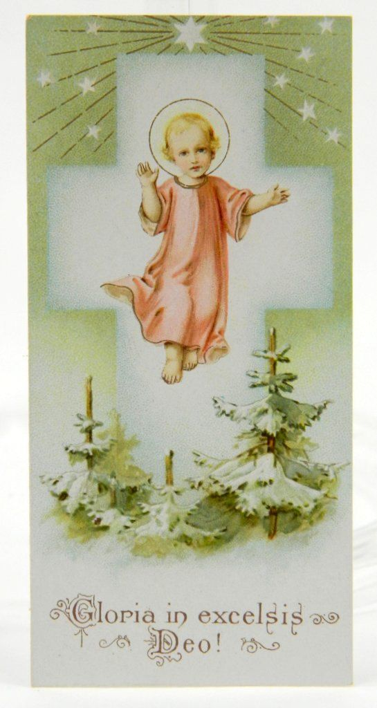Vintage Christmas Holy Card Gloria in Excelsis Deo Jesus Cross Salesman's Sample 11506  epsteam by QueeniesCollectibles on Etsy