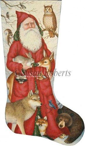 Santa and Woodland Animals Needlepoint Stocking Canvas