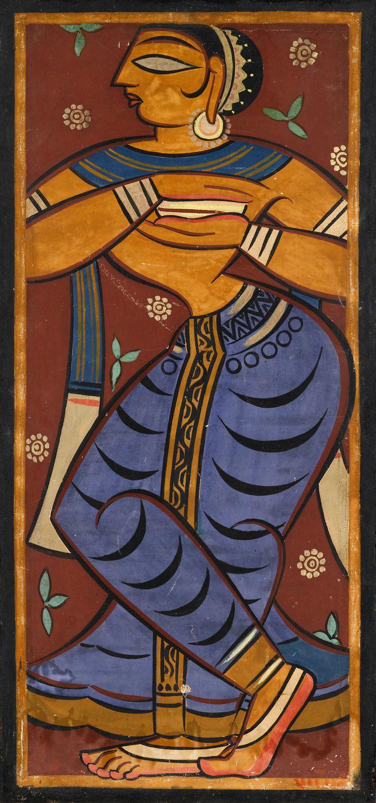 JAMINI ROY (INDIAN 1887-1972) GOPINI Sold 5/12/12