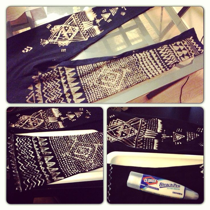 DIY bleach pattern leggings - all you need is a pair of old leggings a bleach pen and some patience and creativity!