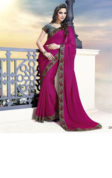 Picture of Gorgeous Magenta Color Indian Party Wear Saree Online