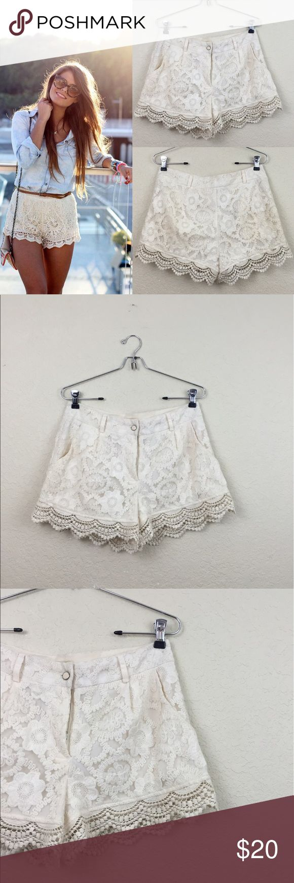 Monteau lace shorts Monteau lace cream shorts size medium Monteau Shorts