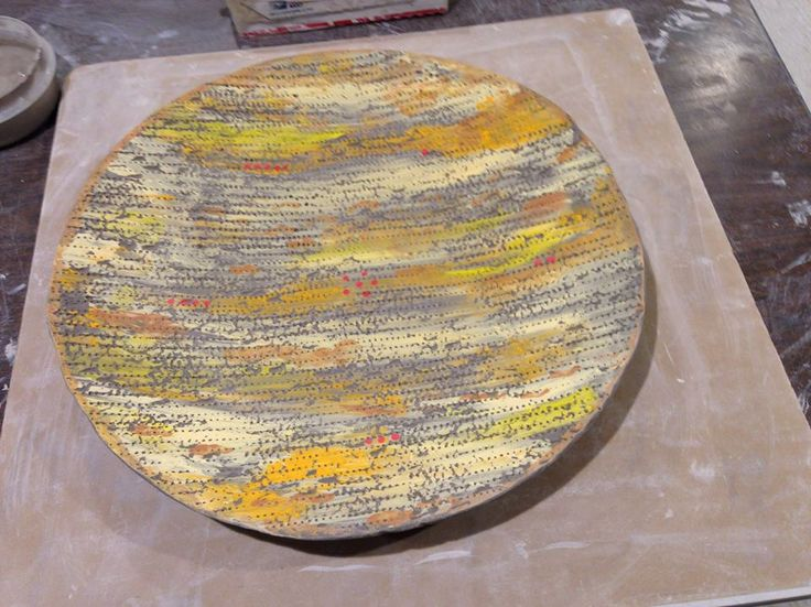 Seder Plate with Matzah texture and underglazes, by Mimi Stadler Pottery