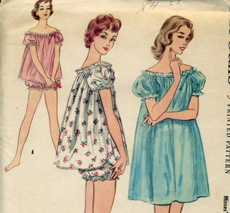 Vintage PJ's  & Bloomers Baby Doll Pajamas McCall's 3206 Sewing Pattern Easy To Sew. $19.95, via Etsy.