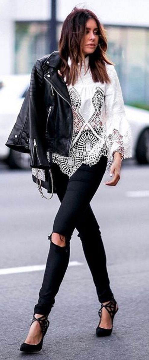 Little Edgy Black And White Street Style