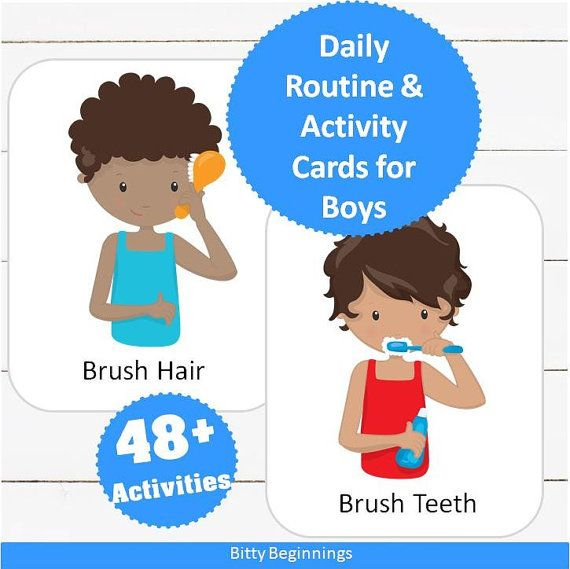 Daily Routine & Activity Cards for Boys #routine #children #preschool #preschoolers #toddler #chores #affiliate