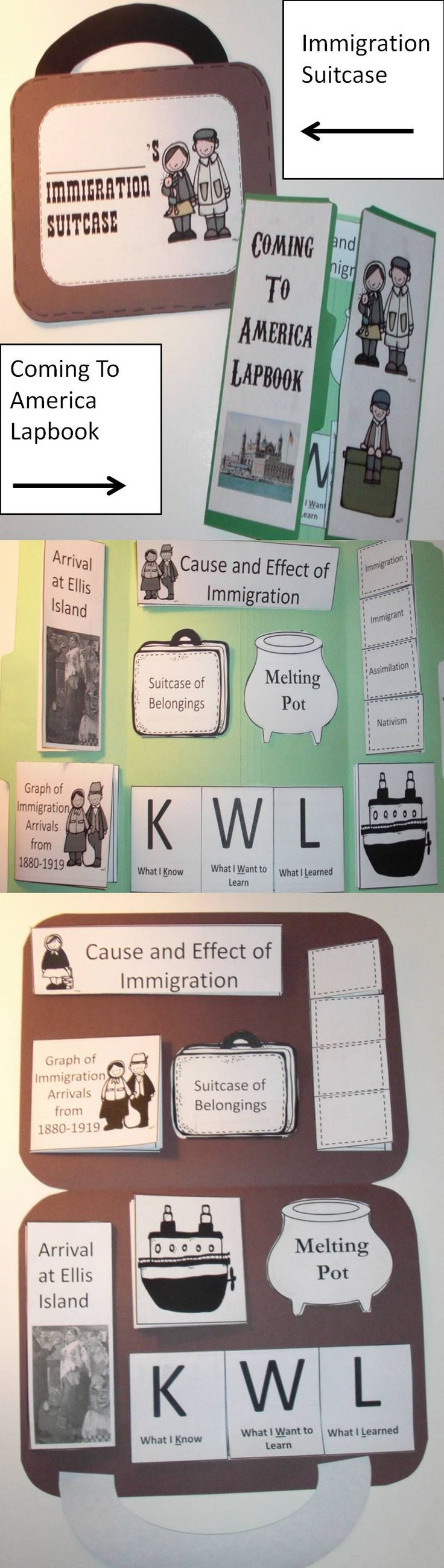 Teaching Immigration? This is a fun way to have the students be involved in their learning in two different ways. You can have them make an Immigration Suitcase or Coming To America Lapbook. The choice is yours.