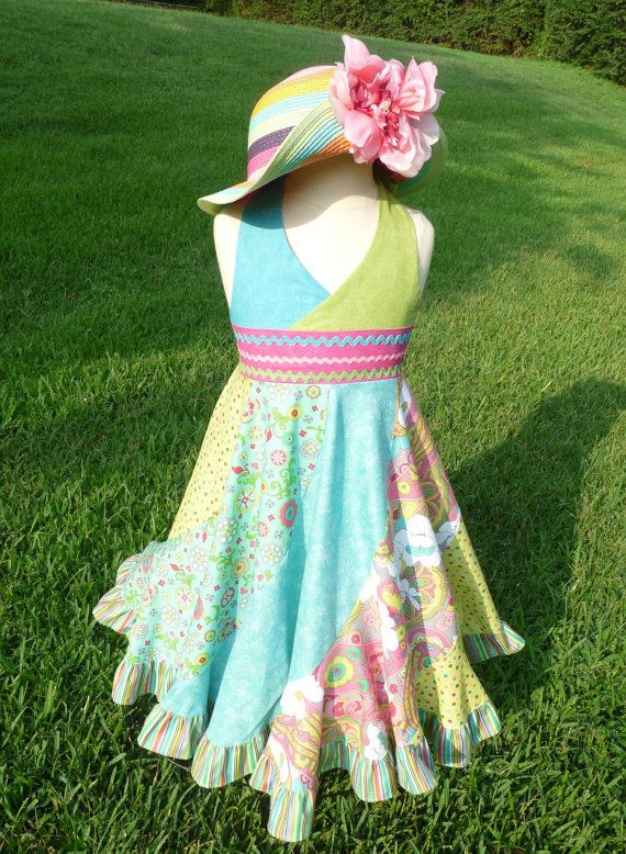 Halter twirly ruffled on the bottom summer dress for girl by KNYPS on etsy.