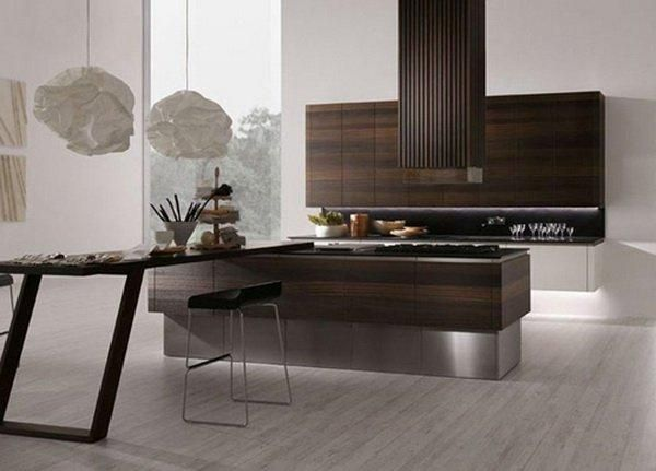 Minimalist kitchen and design in wood and raw materials