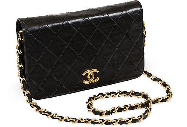 Vintage Chanel Black Leather Evening Bag