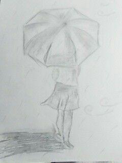 Dibujo niña lluvia