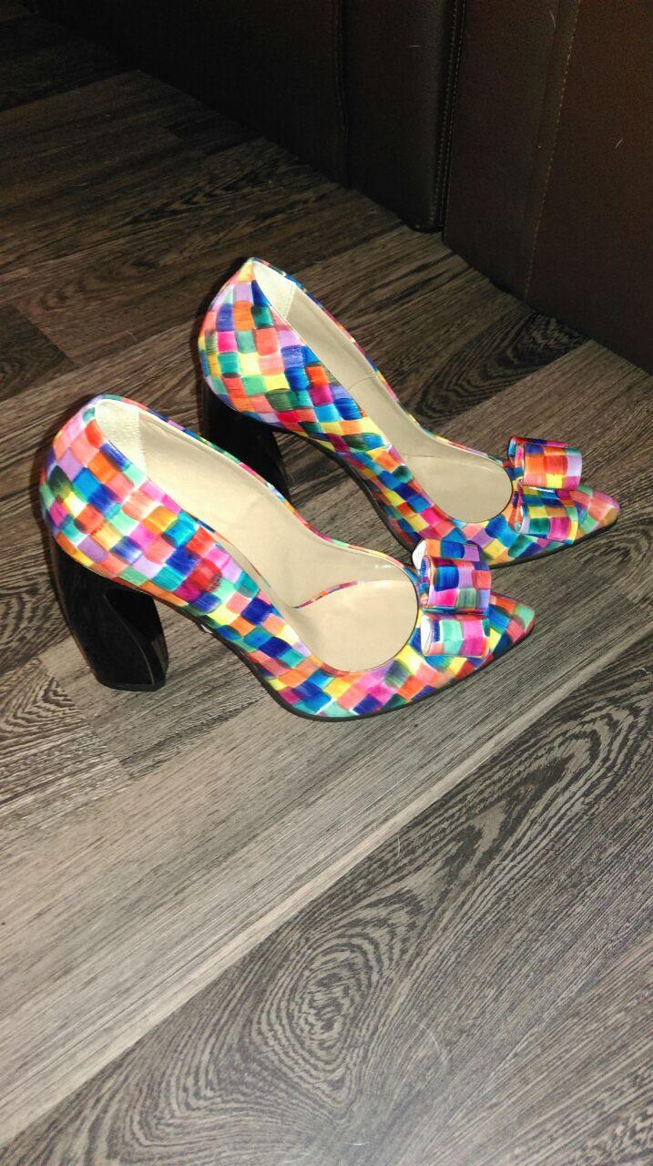 pantofi cu toc din piele naturala