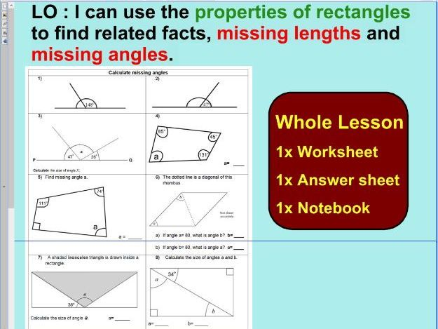 Whole Lesson - properties of rectangles or quadrilaterals   - missing lengths - missing angles - KS2