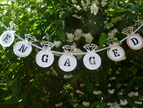 Silver engagement party bunting banner. Silver by Garlandsandgifts