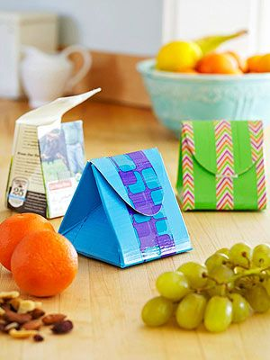 Repurpose a milk or juice carton into a reusable snack container. For an eco-friendly trifecta, fill it with treats from your supermarket's bulk bin!