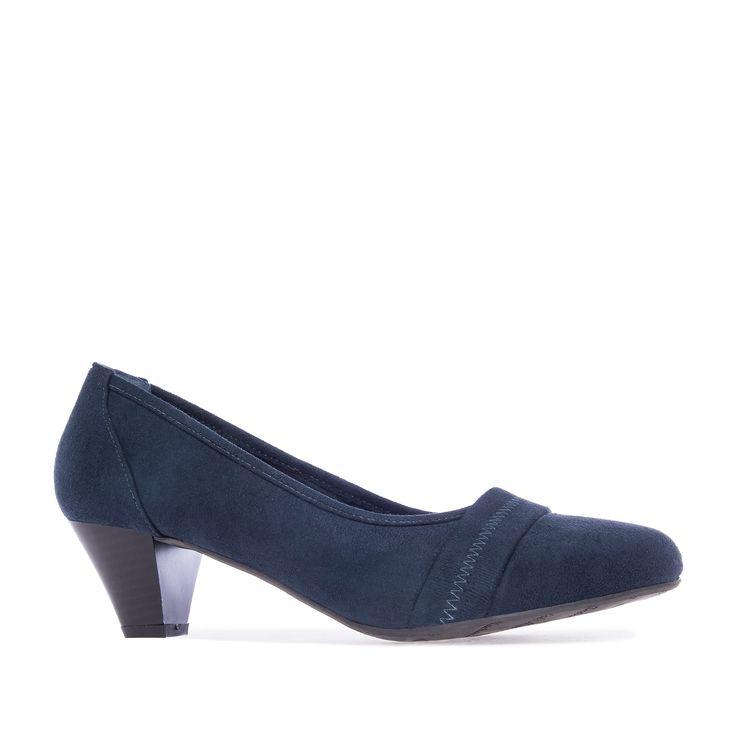 Zapatos de Ante Azulon con punta redondeada y Ancho especial. Tacon medio Ancho de 6 cm para las Tallas Grandes de la 42 a la 45.