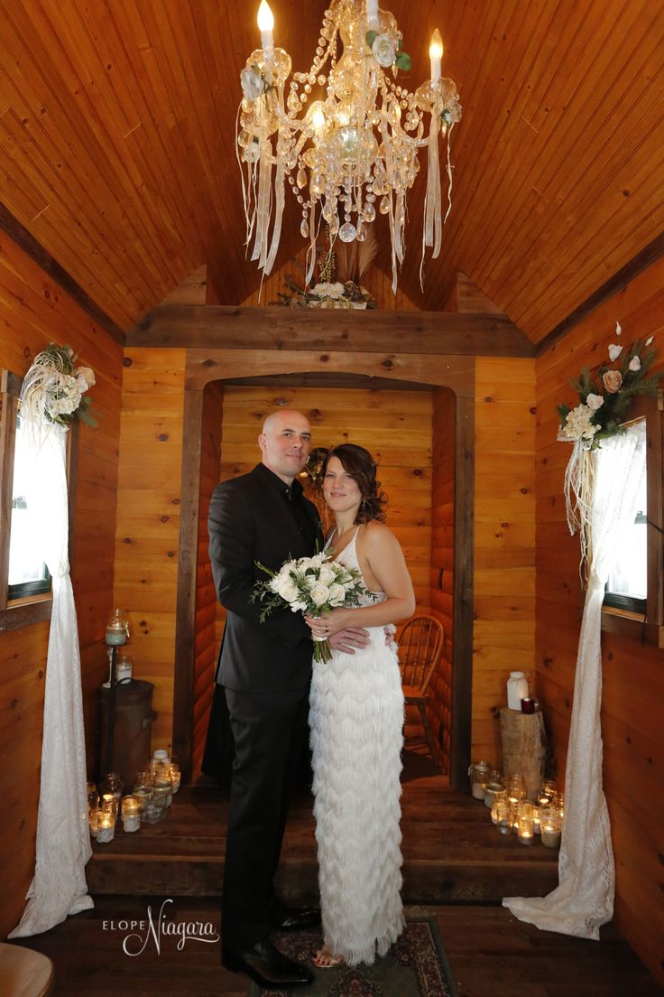 warm, cozy, charming, romantic, special, and...it smells so good in here! are just some of the words used to describe the inside of our little log wedding chapel in Niagara