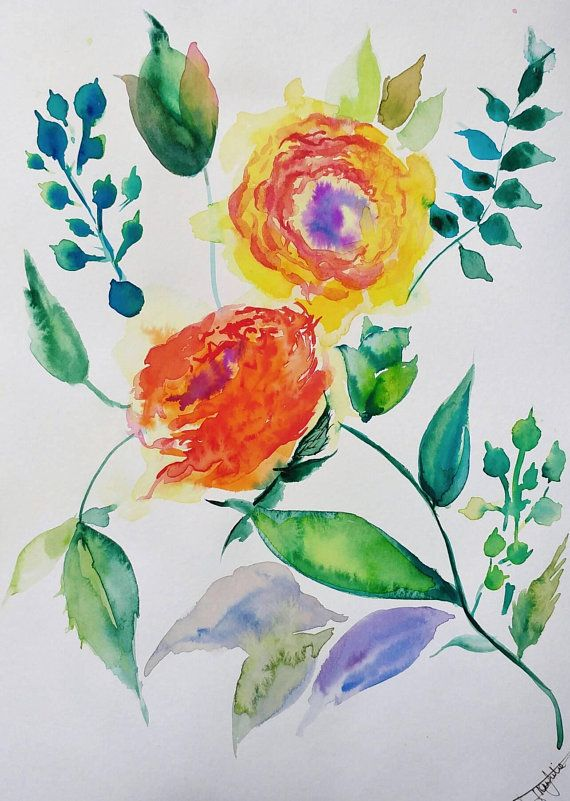 Original Amazing Colorful Orange Abstract Flowers Watercolor