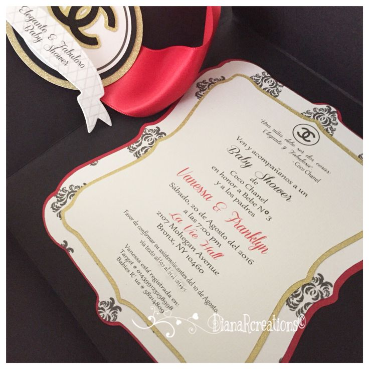 wedding shower invitations handmade%0A Coco Chanel Baby Shower Invitations for a Classy and Fabulous baby shower