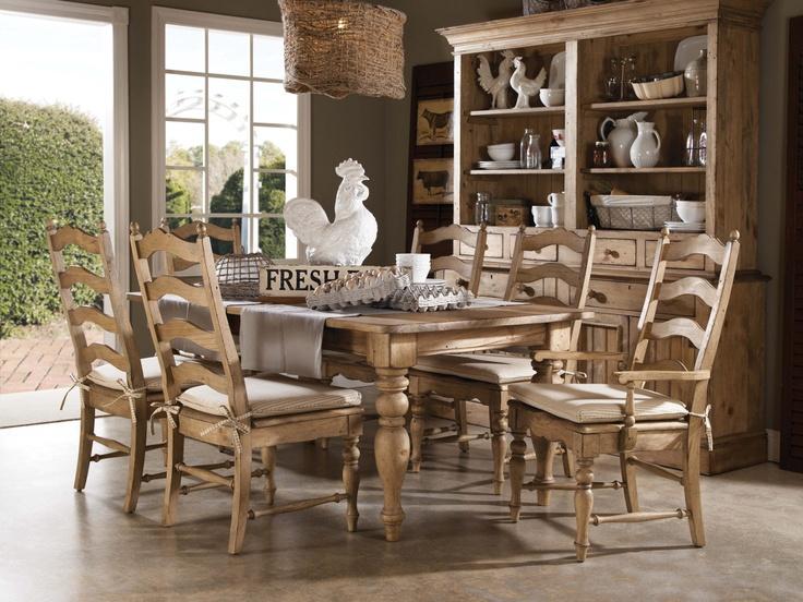 Homecoming Vintage Pine Farmhouse Leg Table Dining Room Set By Kincaid Furniture