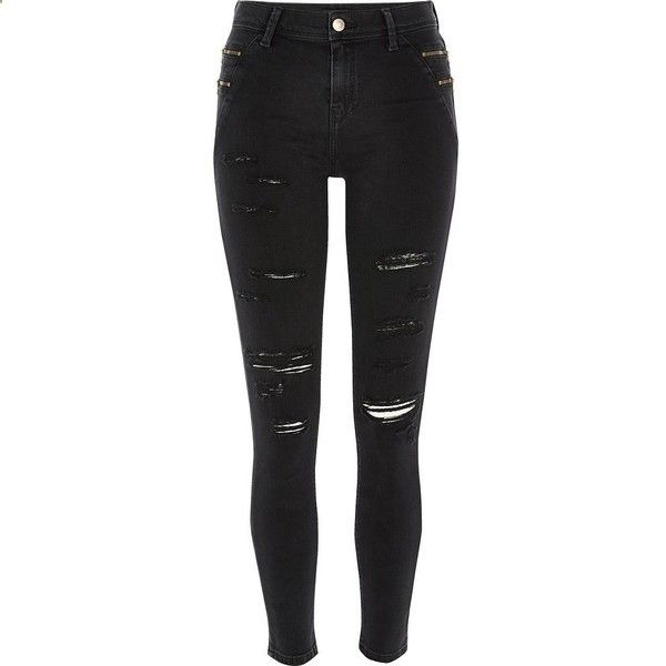 River Island Black ripped Amelie reform jeggings ($96) ❤ liked on Polyvore featuring jeans, black, skinny jeans, women, skinny jeggings, tall pants, jeggings leggings, torn leggings and skinny leggings