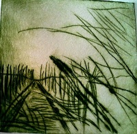"""Print by Mireia Rosich. """"Reeds"""" Dry point. 2010"""