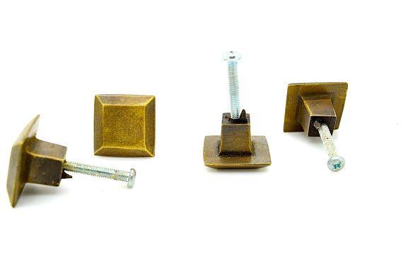 $5 / brass draw knob, pull handle . 2.5CM  square  x 1.75 cmdeep.  Cabinet handle knobs. Drawer cabinet. Handle brass old. cupboard knobs