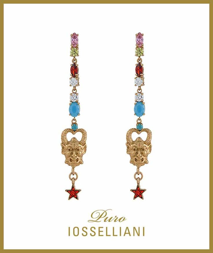 Drop #Earrings 18K gold plated silver, turquoise and mixed colors zircons. #IOSSELLIANI