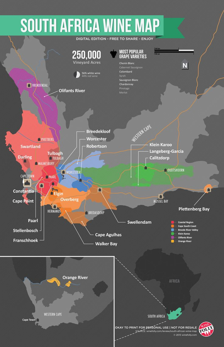 South Africa Wine Map by Wine Folly  Best wine
