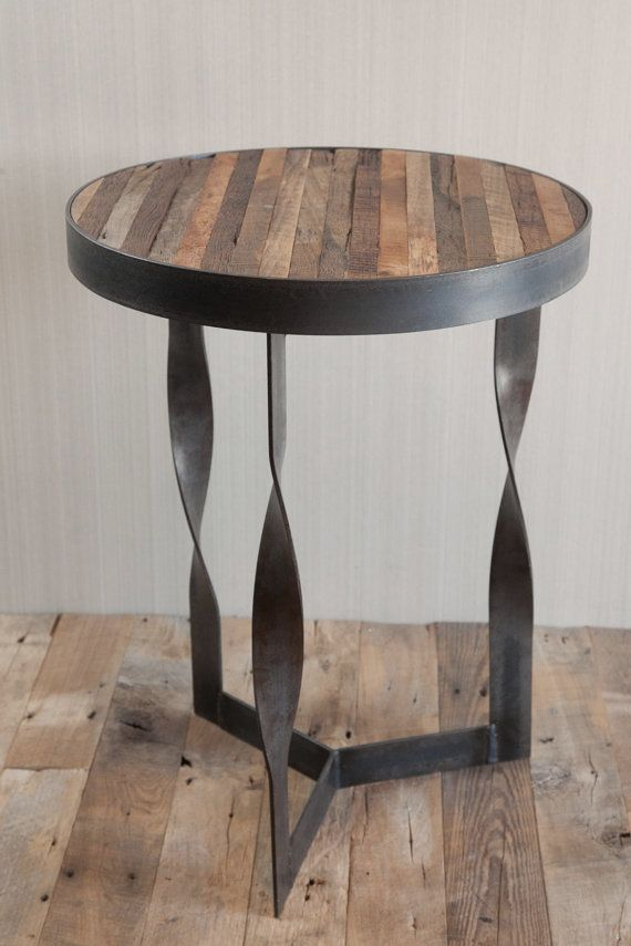 Twisted Steel Reclaimed Wood Side Table by CroftHouseLA on Etsy, $500.00