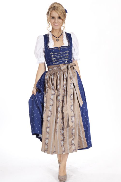 Klassisches langes Gamsbock Dirndl in blau und taupe mit Kette