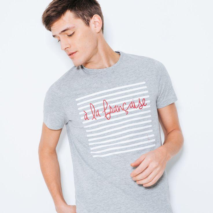 """T-shirt imprimé """"A la Française"""" Gris Chiné Homme - Jules"""