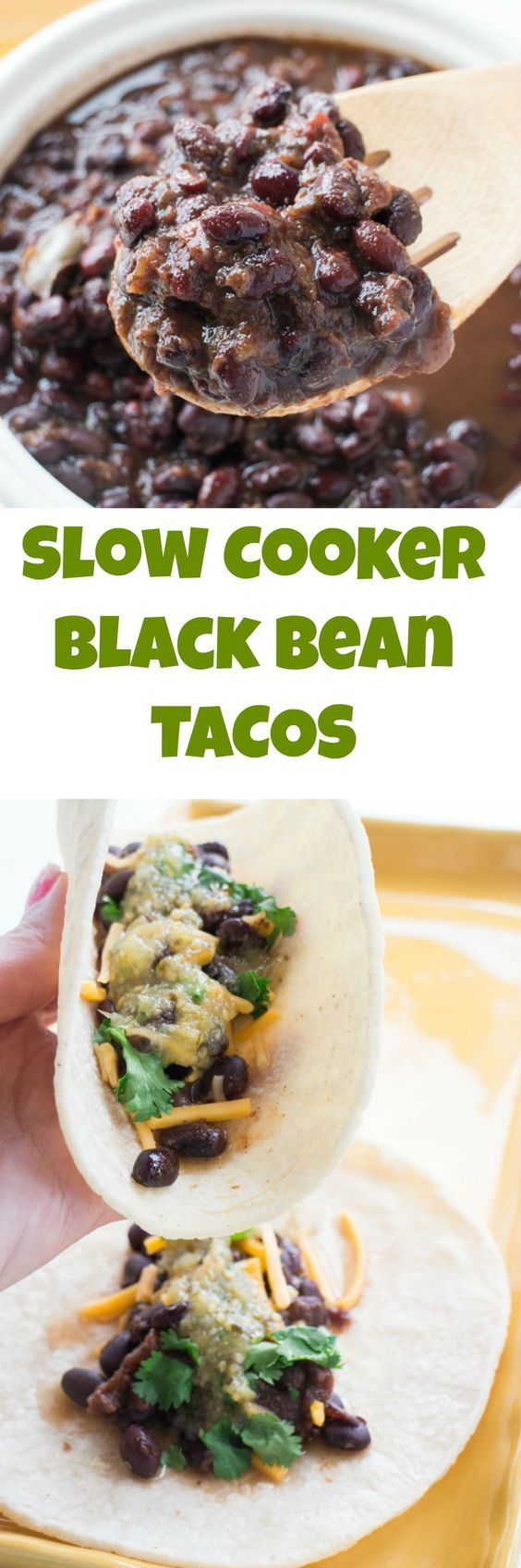 Slow Cooker Black Beans are slow cooked with spices for 4 hours. They make delicious tacos!