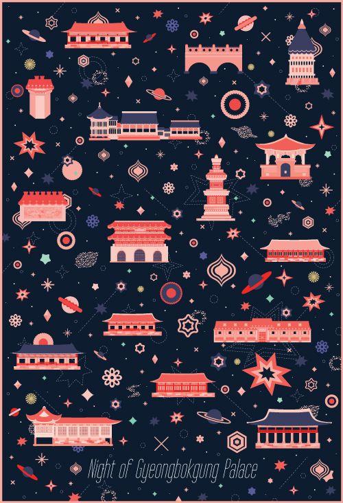 Night of Gyeongbokgung Palace - 그래픽디자인, 디지털아트, 일러스트 이런 색 바랜..? 색감의 디자인도 역시 간간히 눈에 들어온다. 빈티지한 느낌...? 한가지 메인 컬러로도 건물의 디테일을 잘 살려냈다.