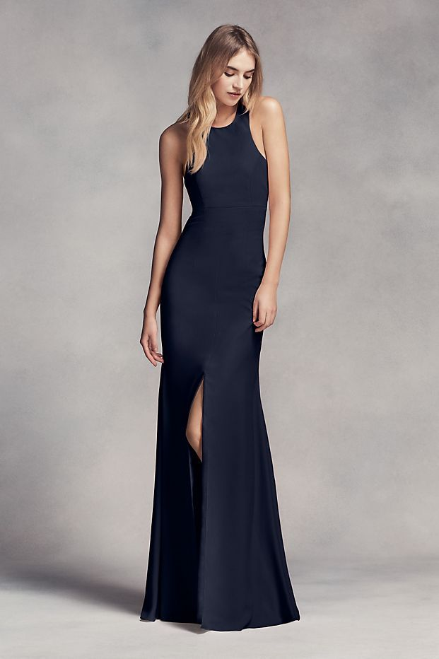 Dramatic lines define this long racerback bridesmaid dress with a cutaway halter neckline, cowl back, and front slit.   White by Vera Wang, exclusively at David\'s Bridal  Polyester  Back zipper; full