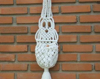 Búho blanco y la pared del nido  Macrame colgado