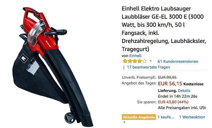Einhell Elektro Laubsauger Laubbläser GE-EL 3000 E - jetzt 20% billiger