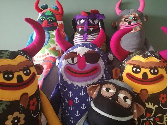 PIRATE DEVIL XXL Unique stuffed devil. Large stuffed animal. Weird stuffed animal. Devil plushie.