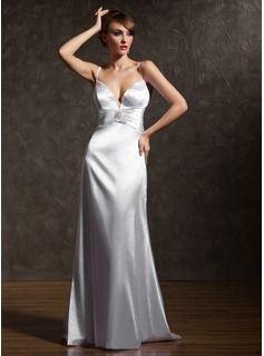 A-Line/Princess Sweetheart Sweep Train Charmeuse Holiday Dress With Ruffle Beading Crystal Brooch (020025965) - JJsHouse
